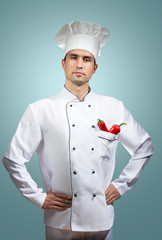 Chef's portrait on a blue background