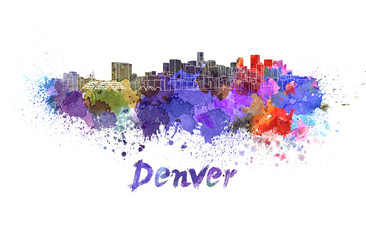 Denver skyline in watercolor