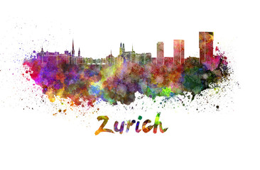 Zurich skyline in watercolor