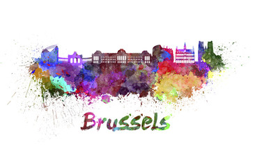 Brussels skyline in watercolor
