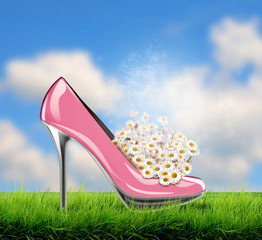 shoe with daisy flowers inside on grass field