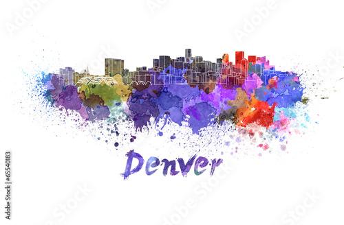 Denver skyline in watercolor