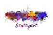 Stuttgart skyline in watercolor