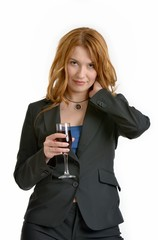 Woman with red-wine glass