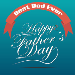 Vector of Happy fathers day  Typographical with ribbon poster.
