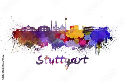 Stuttgart skyline in watercolor