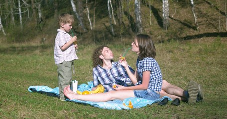 young family at picnic with fruits and juice