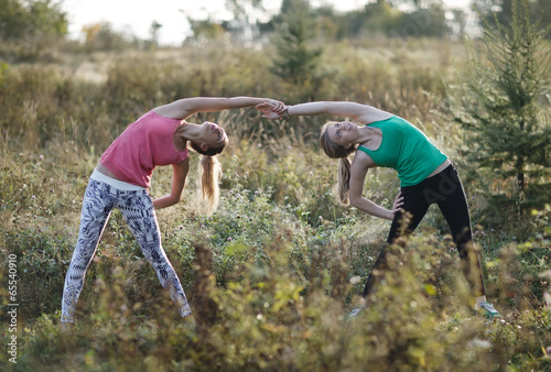 poster of Two supple young women working out together