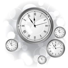 Stylish vector background with silver glossy watches.