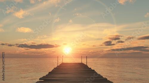 Aluminium Zonsondergang coucher du soleil sur le ponton