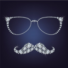 hipster mustache and glasses made up a lot of diamonds