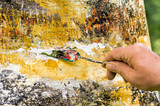 Detail eines abstrakten Acrylgemäldes