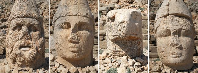 Old head sculptures on Nemrut Dagi in Turkey