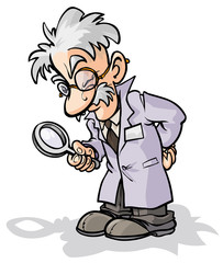 Cartoon scientist with a magnifying glass.