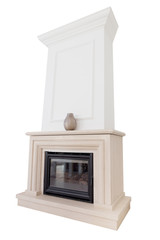 Contemporary fireplace from marble slabs. On a white background.