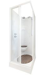 Elegant shower cabin bathroom. Isolated on white background.