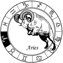 aries zodiac black white