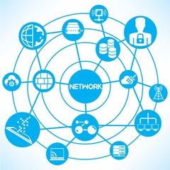 internet and network, blue connecting diagram