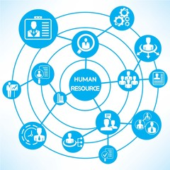 human resource, blue connecting diagram