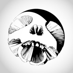 Screaming futuristic skull vector