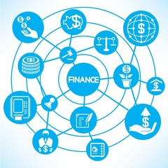 financial network, blue connecting diagram