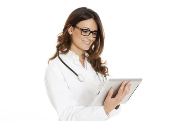 medical doctor woman with stethoscope and tablet