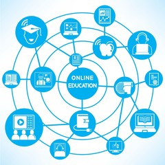 online education, blue connecting network