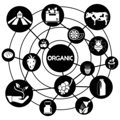 organic and agriculture, connecting network diagram