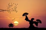 Japanese dance at sunset