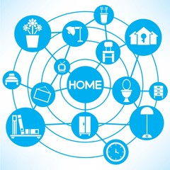 home and interior design, blue connecting network