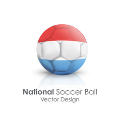 Soccer ball of Luxembourg over white background