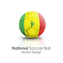 Soccer ball of Senegal over white background