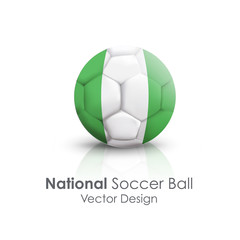 Soccer ball of Nigeria over white background