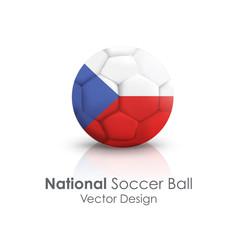 Soccer ball of Czech Republic over white background