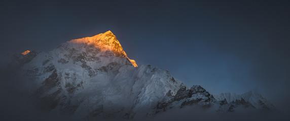 Himalya summits Everest and Nuptse at sunset