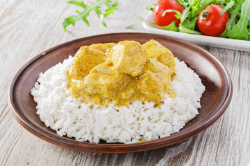 chicken curry with rice salad