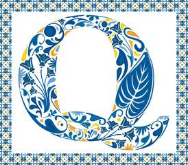 Blue letter Q