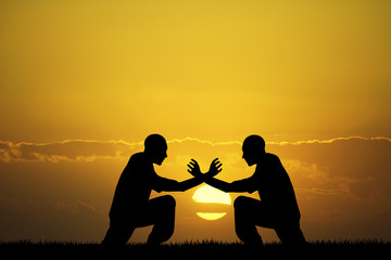 combat at sunset