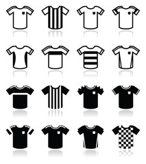 Football or soccer jerseys icons set