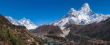 Panoramic view of Ama Dablam, Everest and Lhotse