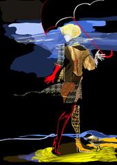 woman walking in rain, bird standing next to her, dark