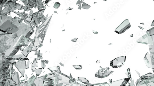 Pieces of shattered glass isolated on white - 65545749