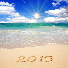 New Year 2015 on a Caribbean beach.