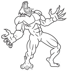 Werewolf line drawing