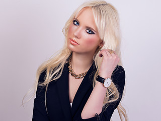 Portrait of beautiful blonde model with makeup