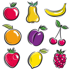 set of fruits, fruit, apple,pear, banana, orange, plum, vector