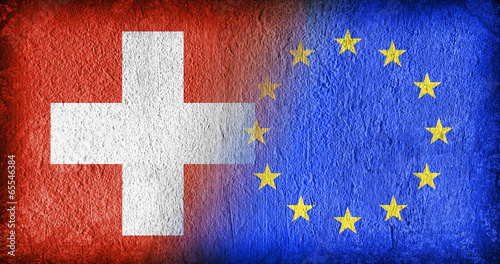 Leinwanddruck Bild Switzerland and the EU