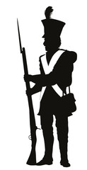 Napoleonic war soldier detailed vector silhouette. EPS 10