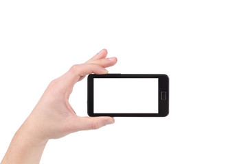 Hand holds cell phone with clipping path.