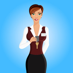 Woman hotel receptionist portrait